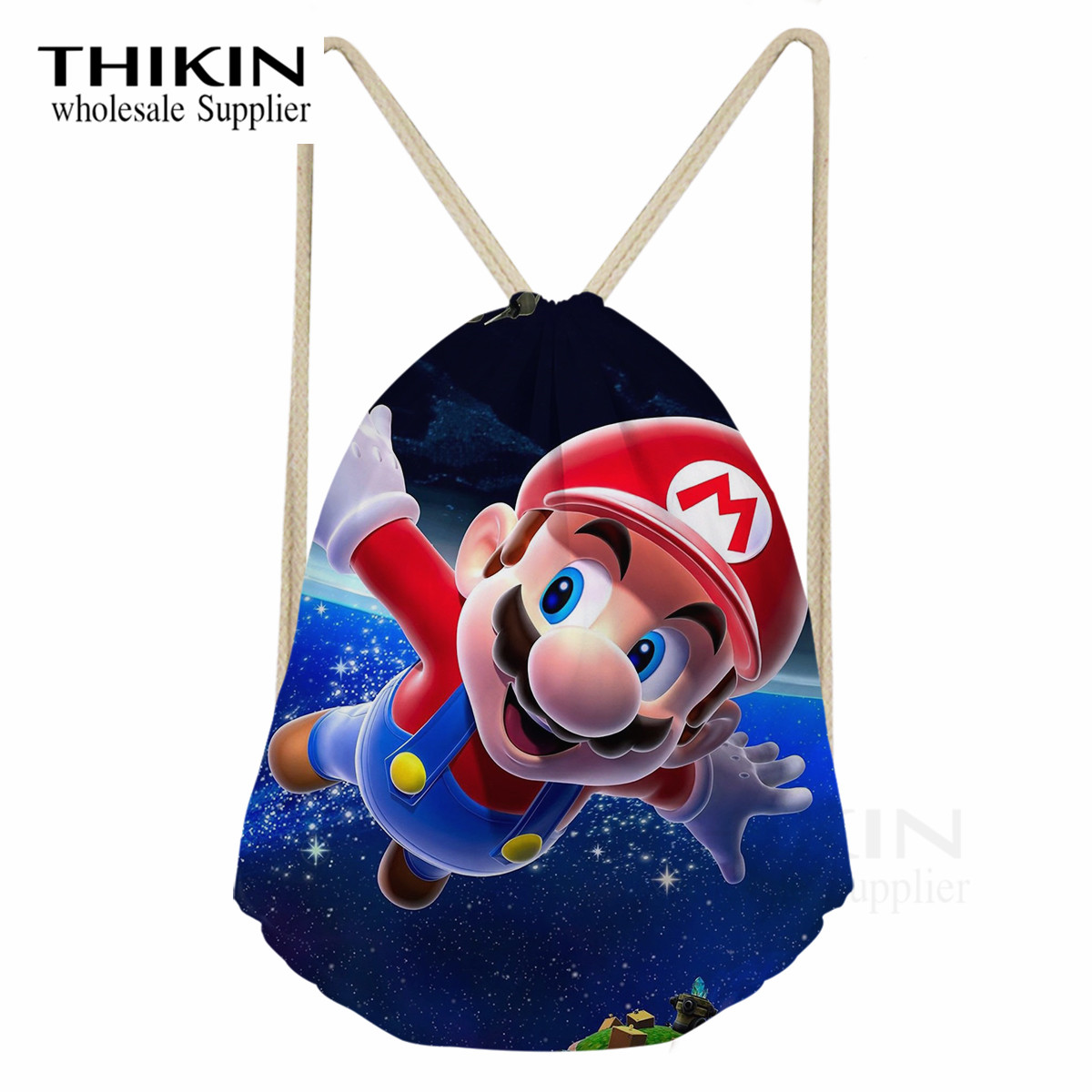 THIKIN Super Mario Pattern Drawstring Bags For Kids Boys Ball Pockets Polyester Casual Men Small Backpack Travel Storage Package