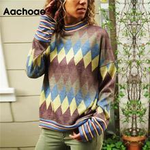 Women Blouses Loose-Stand-Collar Long-Sleeve Aachoae Shirt Tunic Blusas Geometric-Print