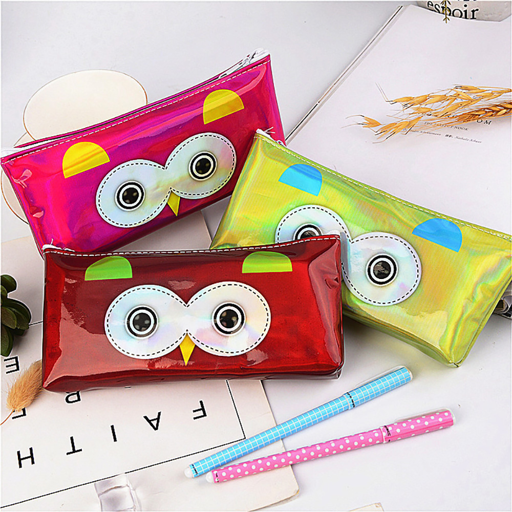 Cute Owl Laser Pencil Case Adorable Kids Pen Pouch Small Cosmetic/Makeup Bag With Zipper, Portable Waterproof Creative Purse Bag