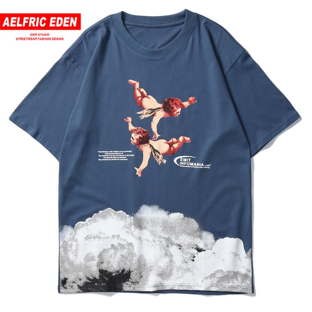Aelfric Eden Angel Print Harajuku T Shirt Mens Japanese Streetwear Hip Hop Tshirts 2020 Summer Cotton Loose Short Sleeve Tops