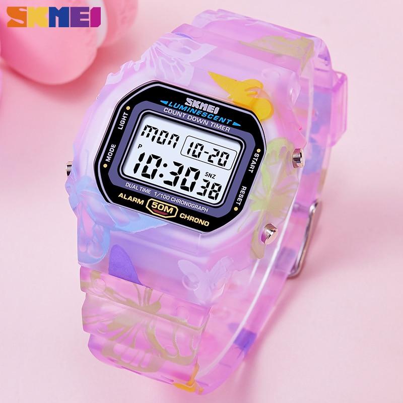 SKMEI Colorful Fashion Ladies Watches PU Transparent Shockproof Teenager Girls Wristwatches Digital Waterproof reloj mujer 1627