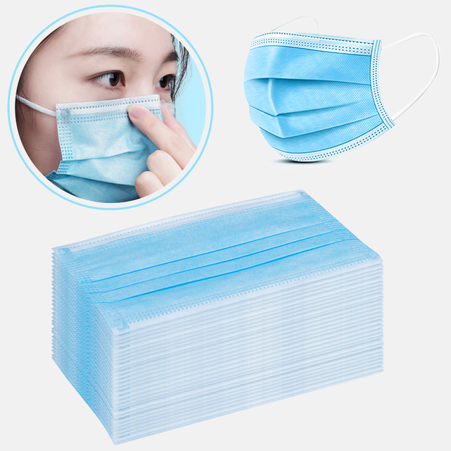 10/50/100Pcs Anti-dust Breathable High Quality Non Woven Disposable Face Mask 3 Layers Anti-Dust Face Masks Ear loop Mouth Mask 1