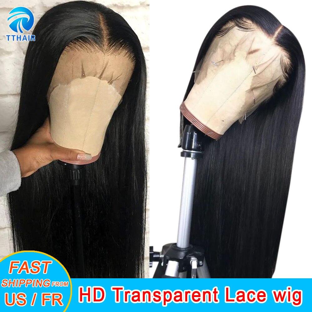 Perucas de cabelo humano frente do laço prepluck 13x4 frente do laço perucas de cabelo humano 28 Polegada 4x4 encerramento peruca reta remy brasileiro 150 densidade