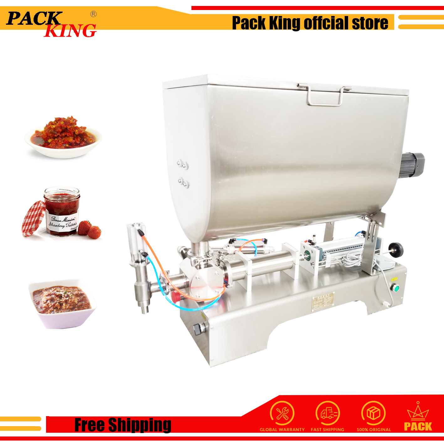 Hot Pepper Chilli Sauce Filling Machine Mixing Hopper Cayenne Soybean Paste Salted And Fermented Soya Filler Free Shipping