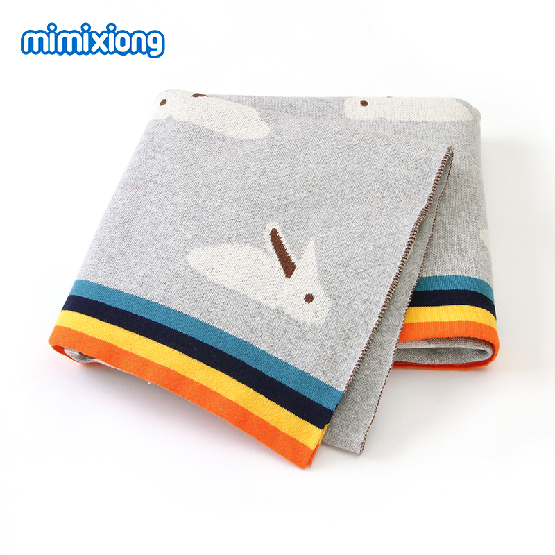 Baby Blankets Soft 100%Cotton Knitted Newborn Swaddle Wrap Sleeping Blanket Covers 100*80cm Infant Bebes Sofa Crib Bedding Quilt