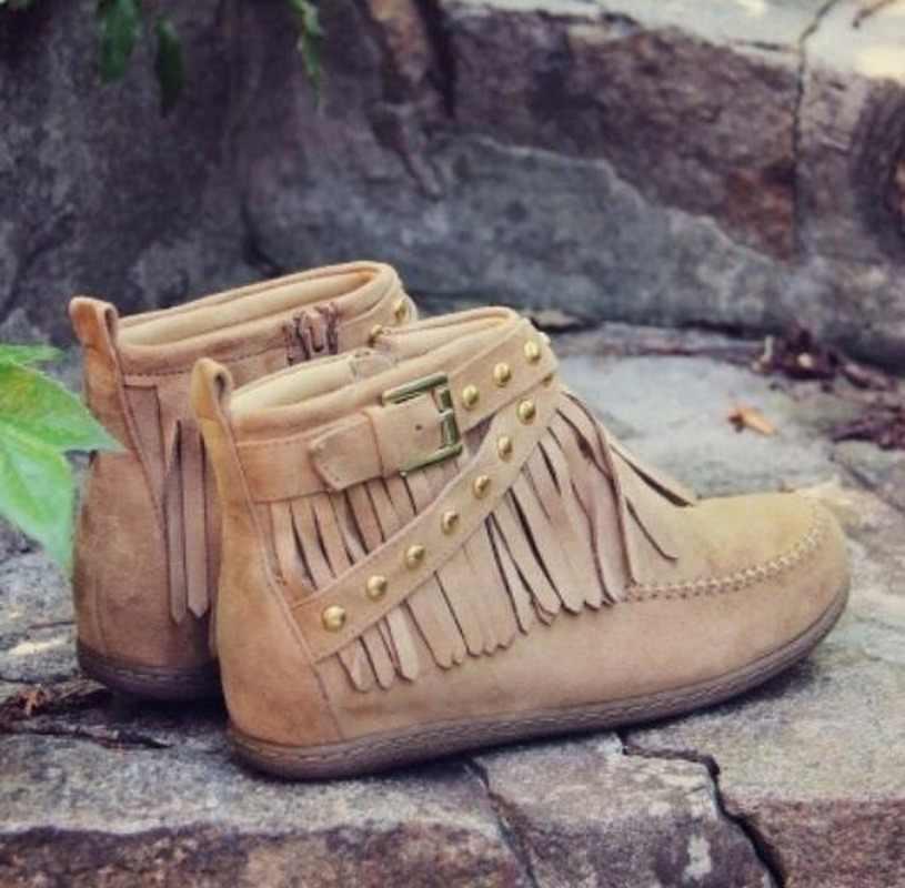 Thời Trang Dày Giày Cao Gót Nữ Cao Đến Mắt Cá Chân Khởi Động Tua Rua Người Phụ Nữ Giày Nữ Giày Sang Trọng Ngắn Mùa Thu Giày Size Lớn