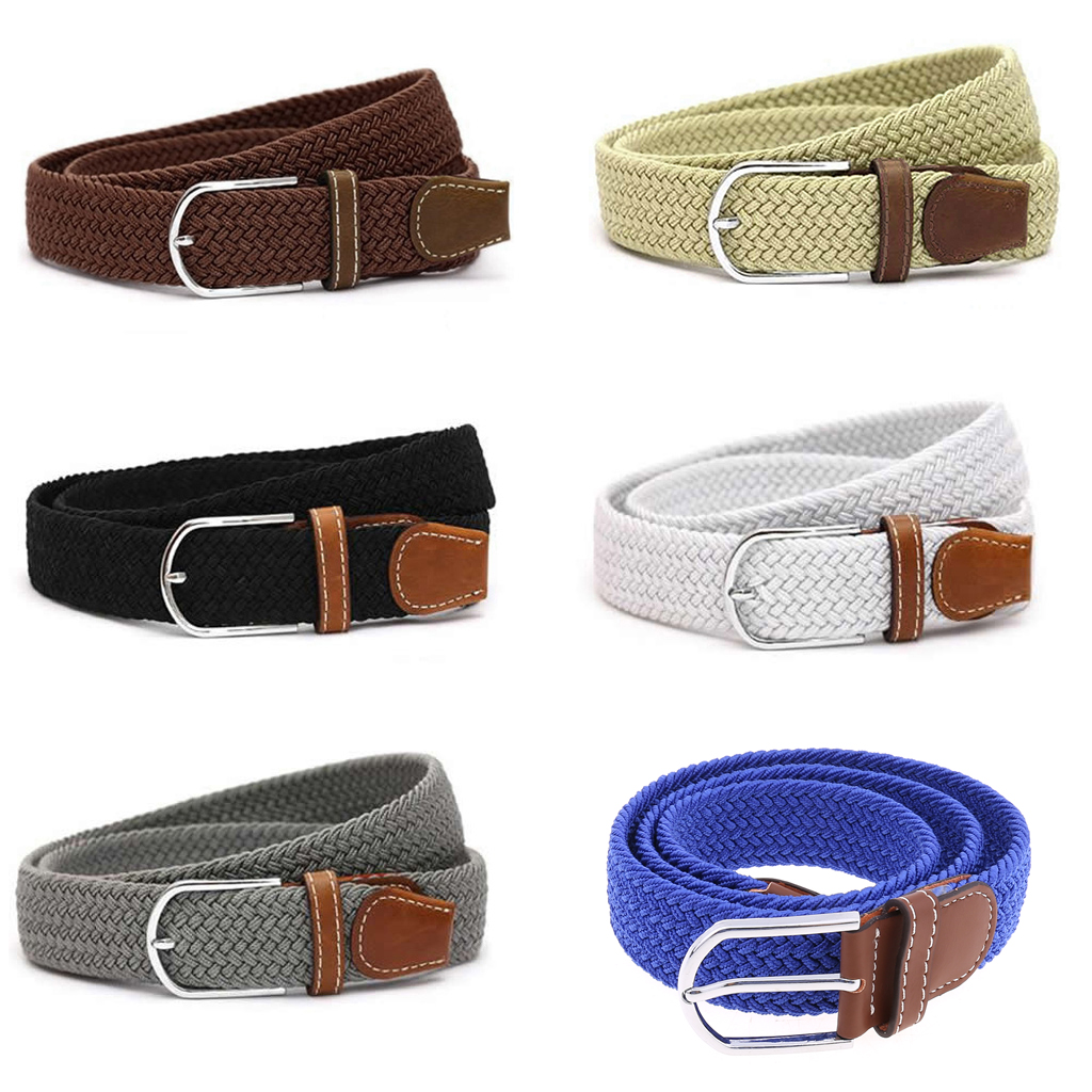 Male Military Belt Top Quality 3.5 Cm Wide Woven Stretch Braided Elastic Leather Buckle Luxury Canvas Extended 110 Cm Belts