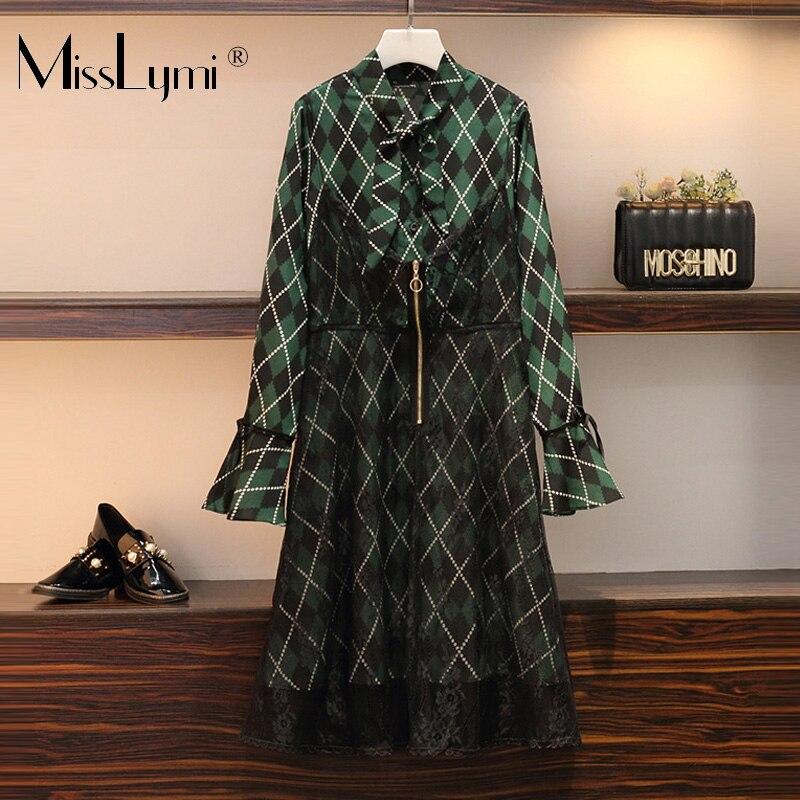 XL-5XL grande taille femmes Vintage dentelle robe automne 2019 mode arc col à manches longues chemise Patchwork Zipper dentelle a-ligne robes