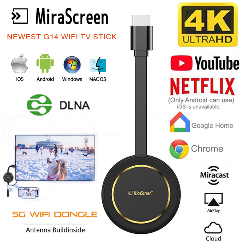 Mirasreen TV Stick 4K Wireless screen projector 5G WiFi Display Dongle Airplay HDMI for google Chromecast for youtube netflix