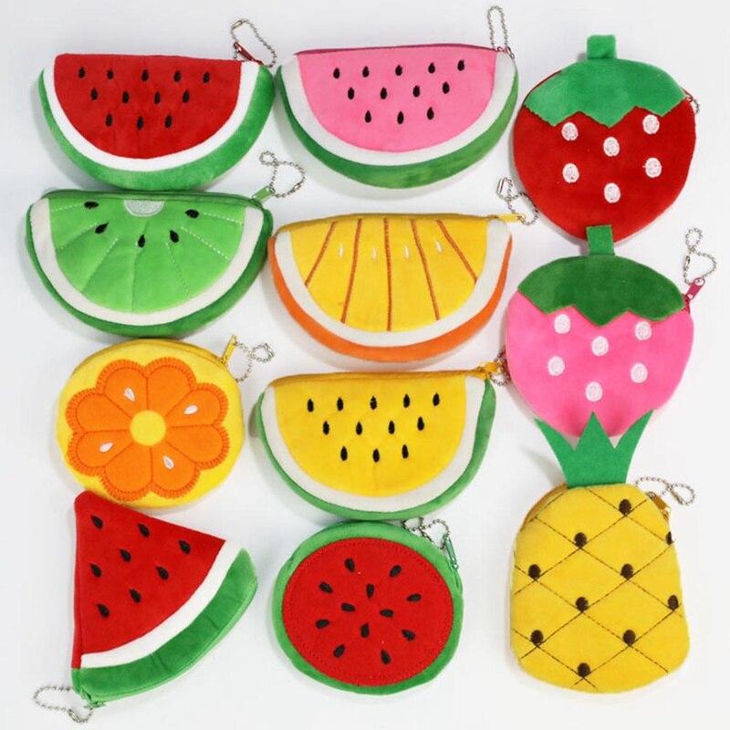1 PC Mini Simulation Fruit Plush Coin Purse Children Cute Watermelon Strawberry Orange Coin Packet Wallet Money Bag Dropship New