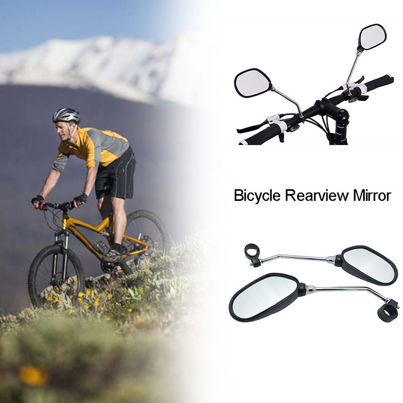 1 Pair Bicycle Handlebar Rear View Glass Flexible Mirror Wide Range Back Sight Reflector Angle Adjustable Glass Mirrors
