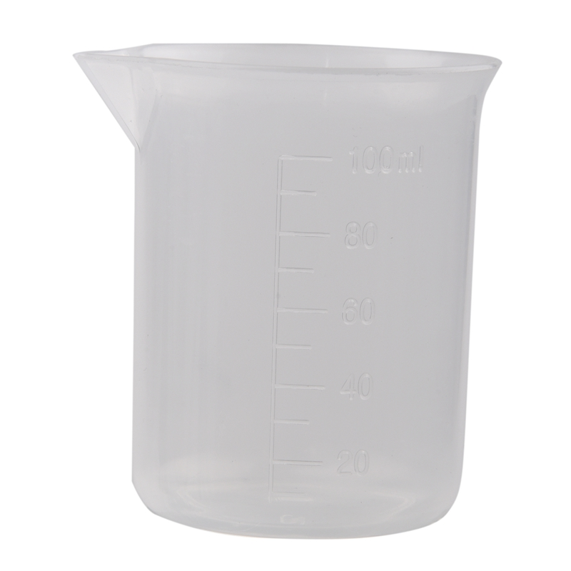 Clear White Plastic 100mL Measuring Cup Beaker For Lab Kitchen