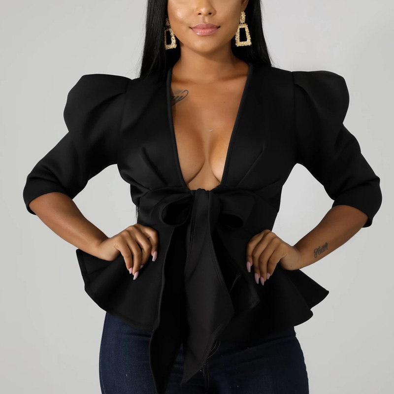 Women Scuba Bowtie Peplum Blouse Shirts Half Sleeve Sexy V Neck Tops Elegant Office Ladies Workwear Streetwear 14
