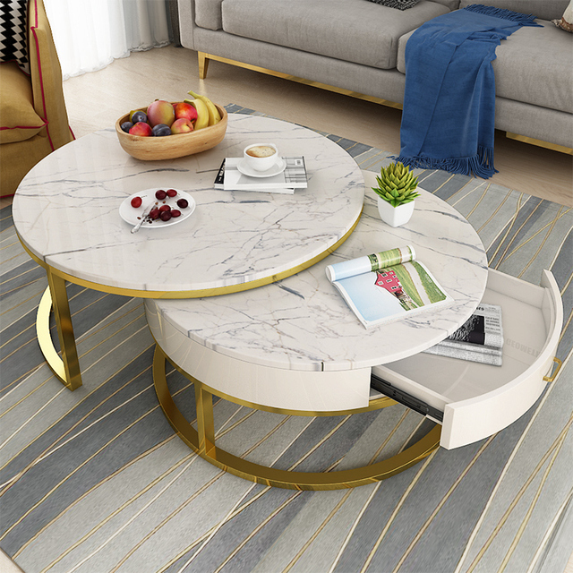Marble Nordic coffee table living room simple modern wrought iron high and low creative round combination apartment coffee table