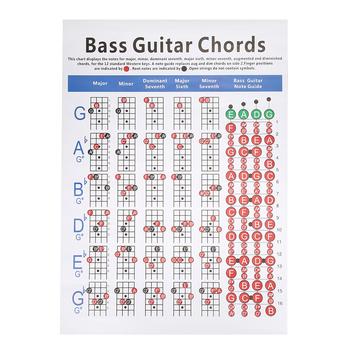 Gitara basowa gitara akordy wykres gitara basowa gitara akordy plakat 4-ciąg początkujących jak palec praktyka akcesoria do instrumentów muzycznych tanie i dobre opinie CN (pochodzenie) Bass Guitar Chords Chart