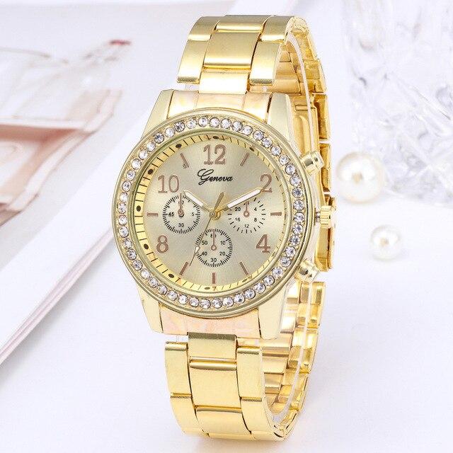 Relógio para mulheres de luxo moda genebra strass aço inoxidável falso três olhos quartzo feminino relógio presente para senhora relógio feminino 4