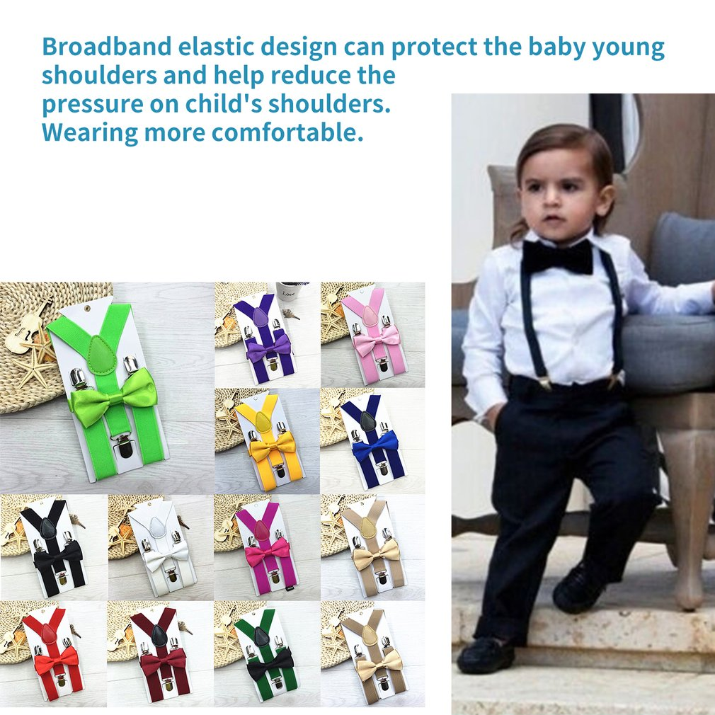 Kids Elastic Suspenders & Bow Tie Matching Tuxedo Suit Unisex Boy Girl Bowtie Children Costume Adjustable Y-Back Brace Belt 2019