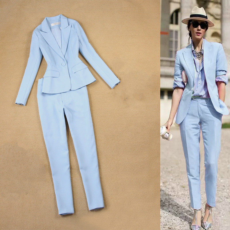 Office Women's Suits Two-piece High Quality 2019 Autumn Slim Long-sleeved Sky Blue Suit Jacket Female Casual Cropped Pants Suit