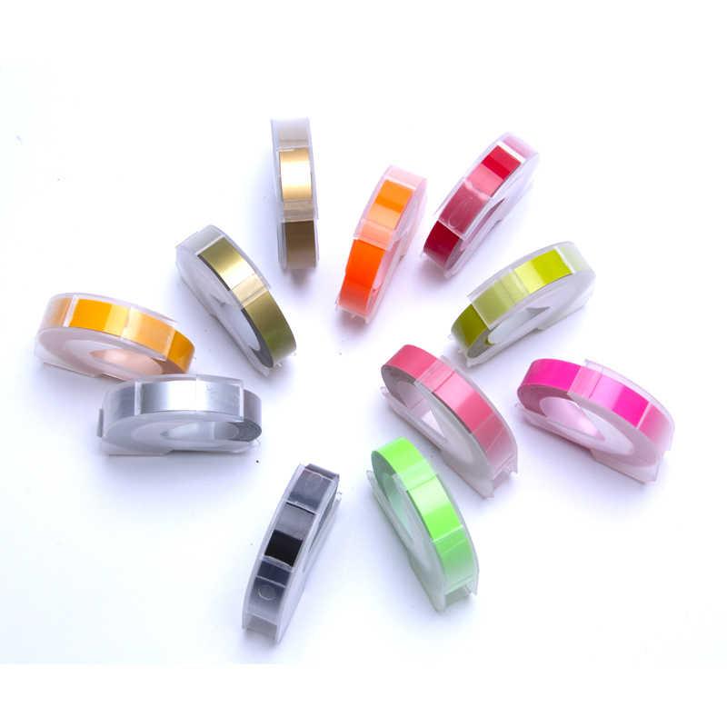 UniPlus ลายนูน DYMO Letratag 3D เทปฉลาก 9 มม.สีสำหรับ DYMO 1610 1880 12965 เครื่องพิมพ์ PVC ฉลาก