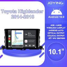 "10.1 ""Android 10รถวิทยุสเตอริโอ1280*800 GPSนำทางCarplay 4GสำหรับToyota Highlander 2014 2018เครื่องเล่นมัลติมีเดีย"