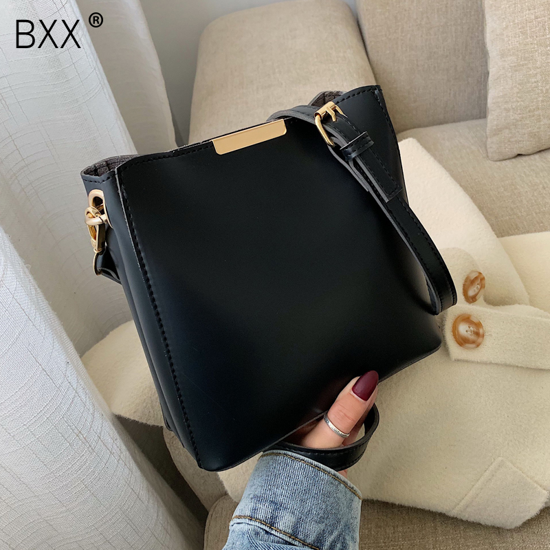 [BXX] Women Solid Color PU Leather Crossbody Bags For Women 2020 Simple Spring Female Shoulder Messenger Bag Lady Handbags HK313