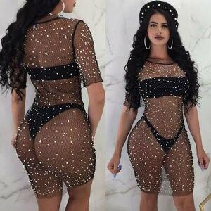 Hirigin 2020 Fashion Sexy Sequins Mesh Cover-Ups Women Bathing Suit Crochet Hollow Out Bikini Monokini Swim Cover Up Beach Dress