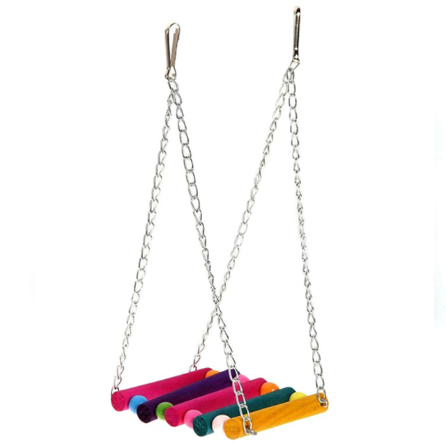 Colorful Wooden Hanging Hammock Swing Cage Holder