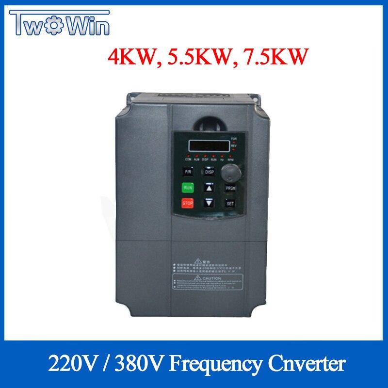 5.5kw 7.5kw 220V 380V VFD Inversor de Freqüência AC Fase Única Entrada 3 Unidades de Fase de Saída do Conversor de Freqüência