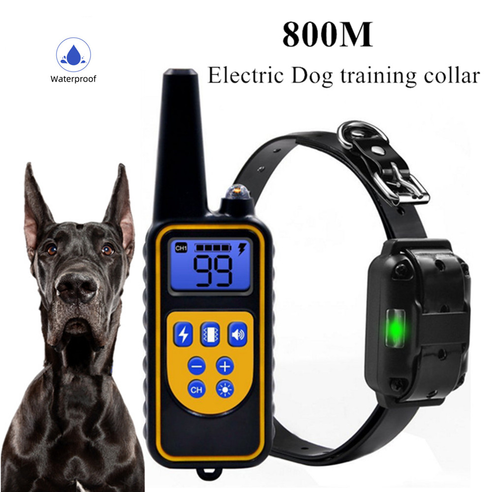 Dog Collar 800m Electric Dog Training Collar Pet Remote Control Waterproof Rechargeable For All Size Shock Vibration Sound40%off