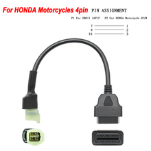 New OBD 16pin To 4 Pin for Honda Motorcycle 4 Pin Motor Adapter Cable OBD2 16 PIN Female Male 4 PIN Extension Cord Tester Plug
