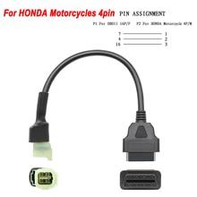 Nuevo OBD 16pin a 4 Pin para motocicleta Honda 4 Pin de Cable adaptador OBD2 16 PIN hembra hombre 4 Cable de extensión PIN enchufe