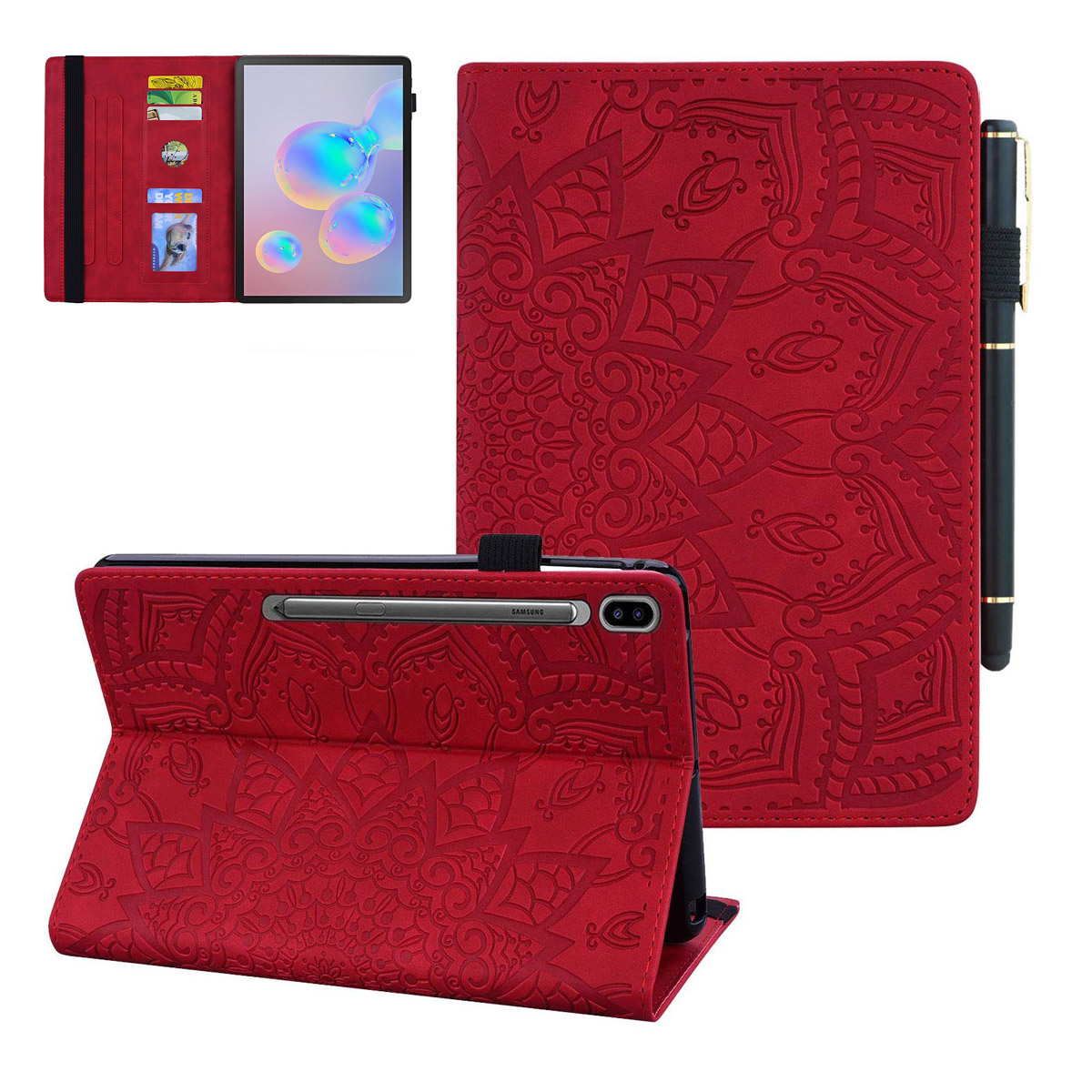For Samsung Galax Tab S6 10.5 2019 Case SM-T860 T865 T867 Premium Embossed PU Leather Soft TPU Folio Stand Cover With Hand Strap