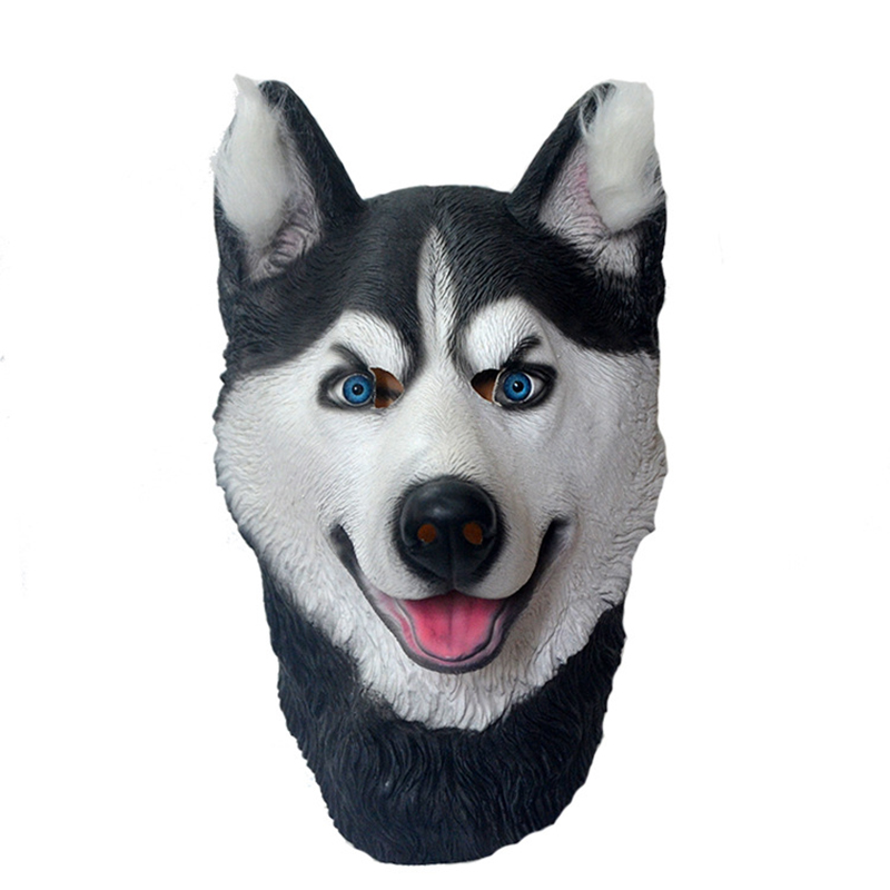 Halloween Trick Party Simulation Animal Husky Latex Mask Dog Head Environmental Protection Material Halloween Party Props