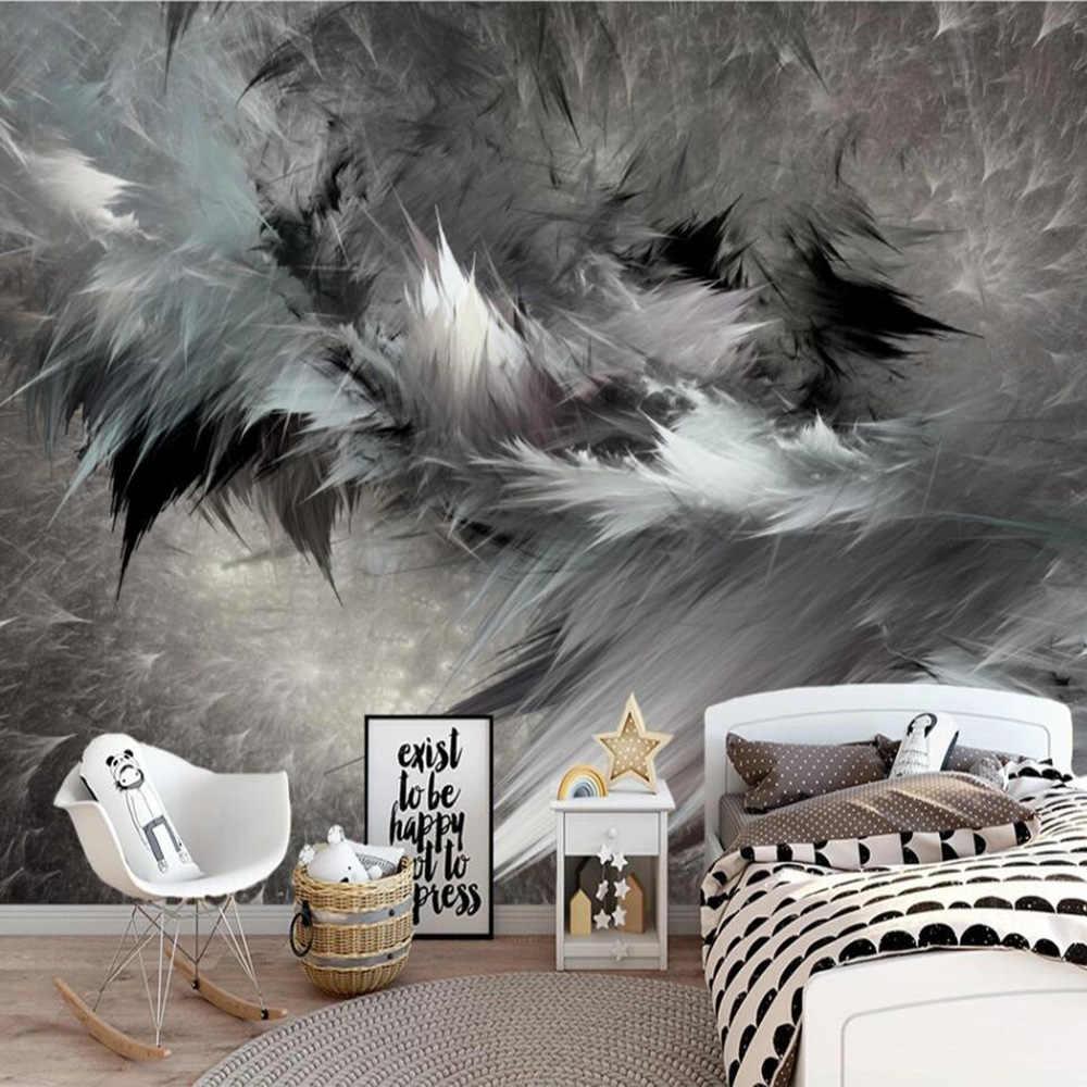 Milofi Custom 3D טפט קיר נורדי תקציר אמנות שחור ולבן נוצת סטריאו רקע קיר קישוט ציור Wallpape