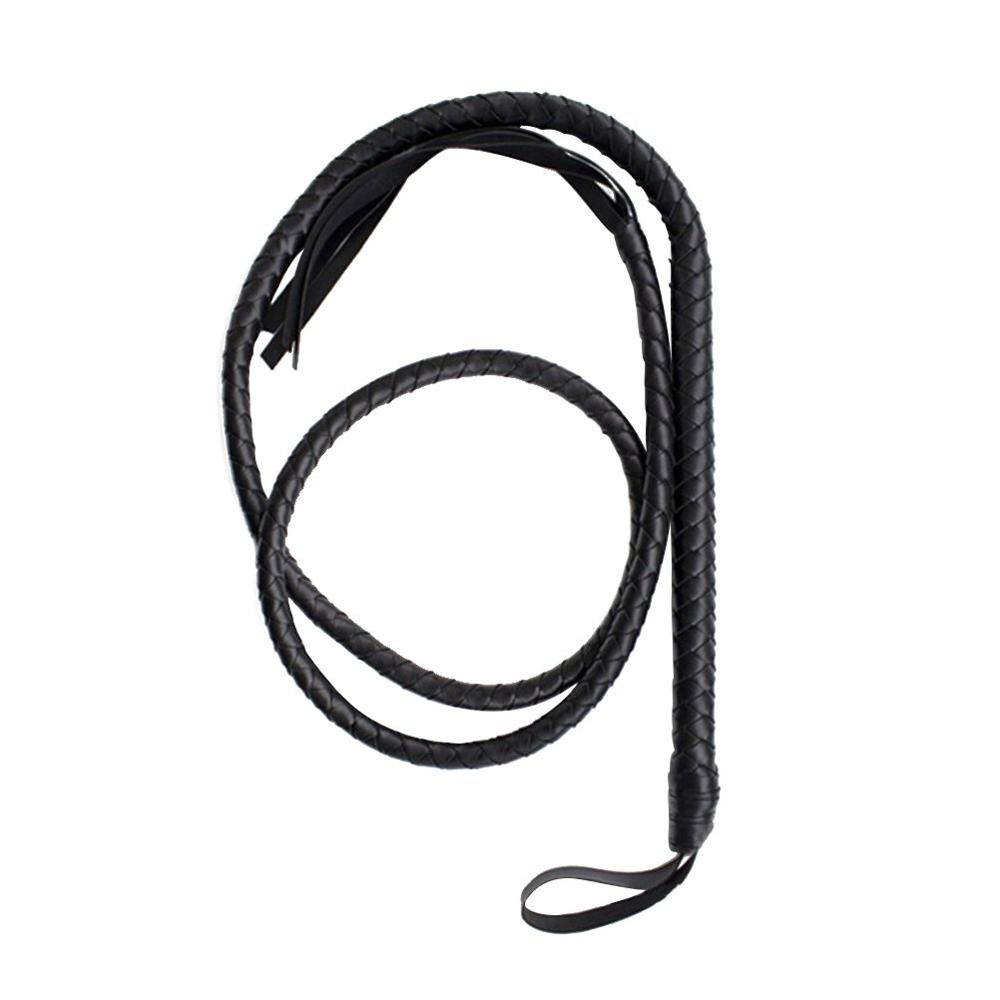 Crafts Black Bull Whip 6.5 Feet Cow Hide Leather Custom BULLWHIP Belly and Bolster Construction