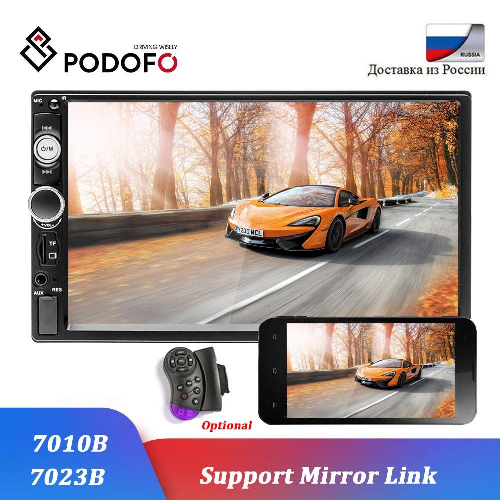 Podofo-autoradio 2 din voiture   Modèles, écran tactile de 7 pouces, Bluetooth, lecteur dautoradio 2DIN, support audio de voiture AUX FM, caméra de vue arrière