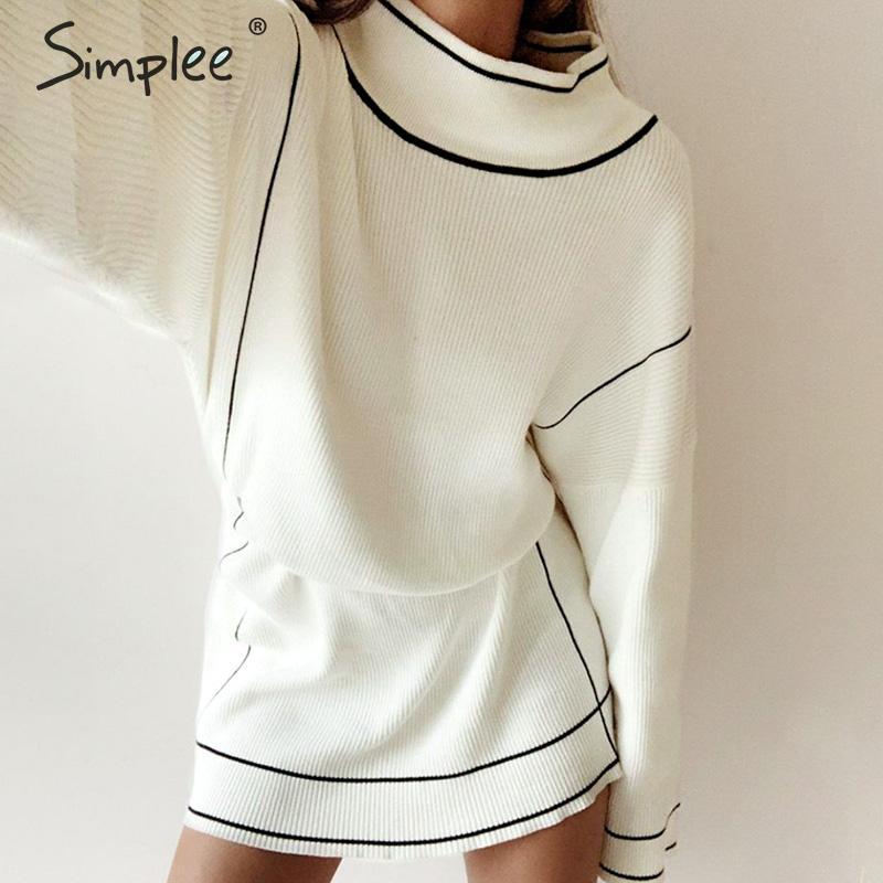 Image 4 - Simplee White sweater dress Streetwear turtleneck loose long  sleeve knitted dress Casual women belt elastic short autumn  dressDresses