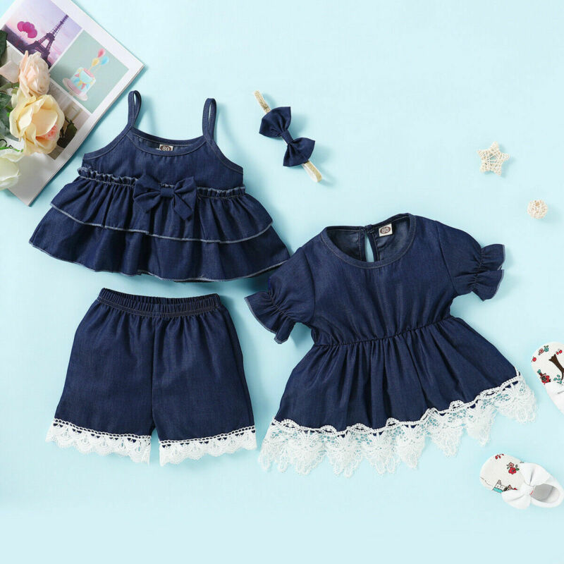 2020 New Toddler Kids Baby Girl Summer Clothes Set Denim Cotton Mini Dress Outfits for 1-4T Female Baaby Girl Clothing Set