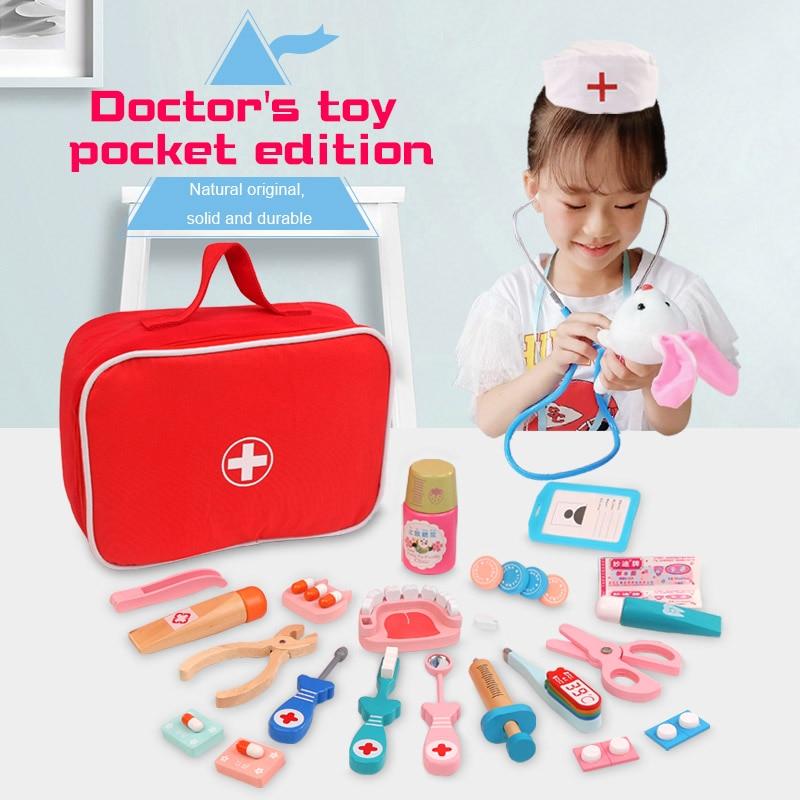 Wooden Pretend Play Doctor Educationa Toys for Children Medical Simulation Medicine Chest Set for Kids Interest Development
