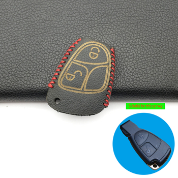New hot sale leather car key cover keychain case For Mercedes Benz W124 W202 W203 W210 W211 W204 Keyboard Remote Holder image