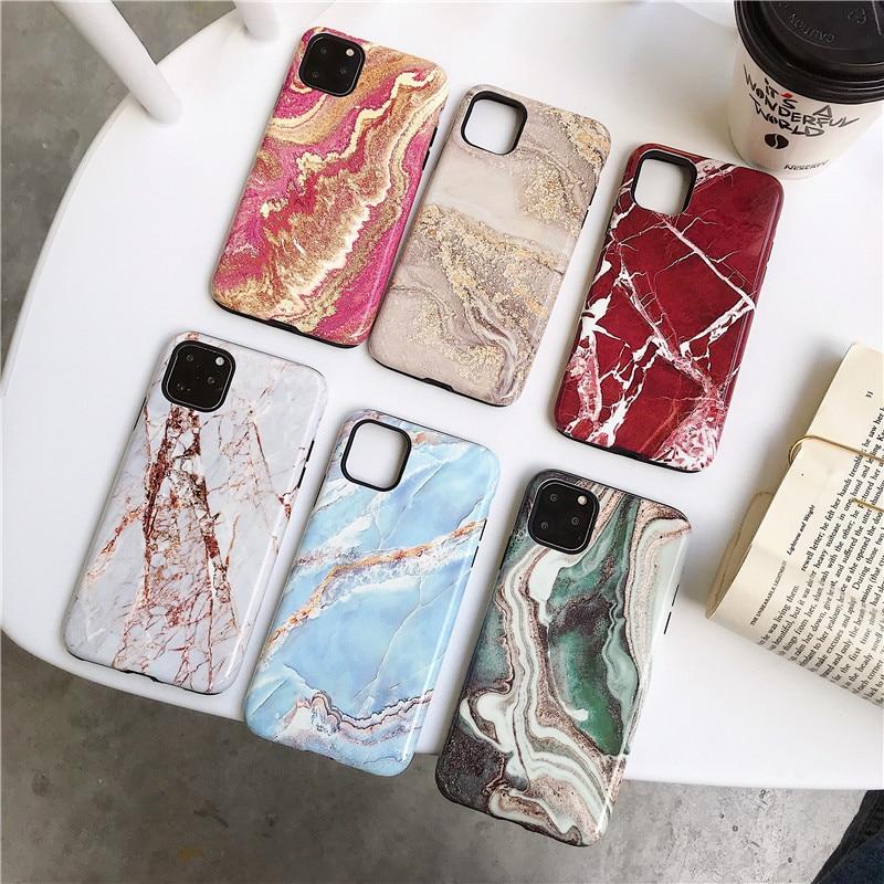 Galleria fotografica Original Marble Case For iPhone 11 Pro Max Case Silicone Cover For Apple iPhone X XR XS Max 7 8 6 6S Plus 11 pro case Funda
