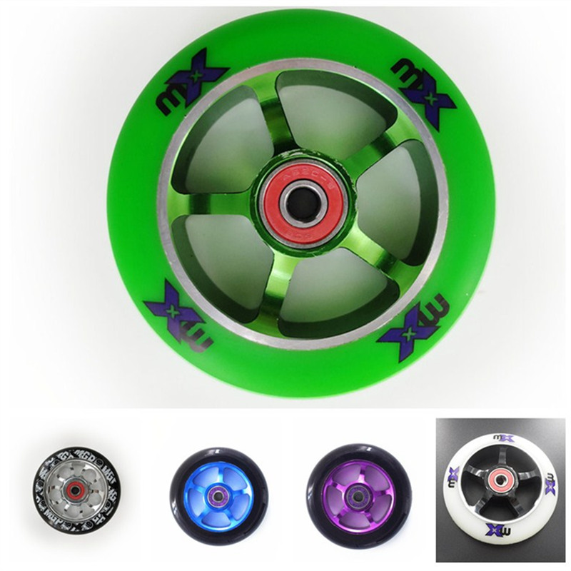 2 High Precision Aluminium Alloy Hub 110mm scooter wheel Heavy Speed Roller white green blue 100mm 88A MX Branded Wheel ABEC-9