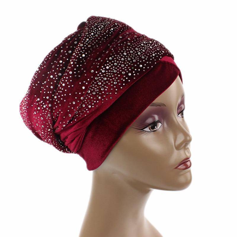 Women Indian Stretchy Printed Stripes Turban Head Wrap Band Cap Headband Hat