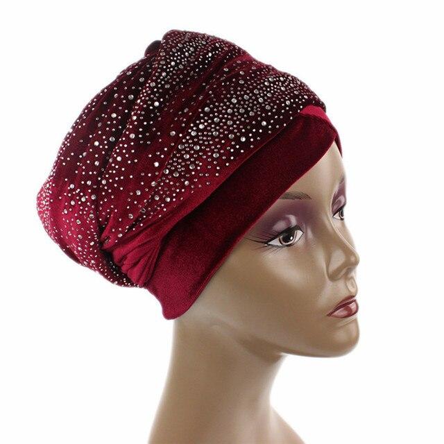 ผู้หญิงยาวพิเศษVelvet Turban Headbandแฟชั่นหรูหราRhinestone Head Wraps Hijabผ้าพันคอมุสลิมสไตล์ผมอุปกรณ์เสริม