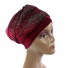 Women Extra Long Velvet Turban Headband Fashion Luxury Rhinestone Head Wraps Hijab Head Scarf Muslim Style Hair Accessories