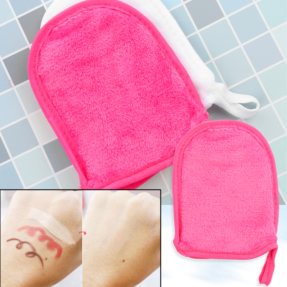 2Pcs Microfiber Facial Cleaning Towel Antibacterial Protection Soft Cloth Reusable Gloves Facial Skin Cleansing Makeup Remover