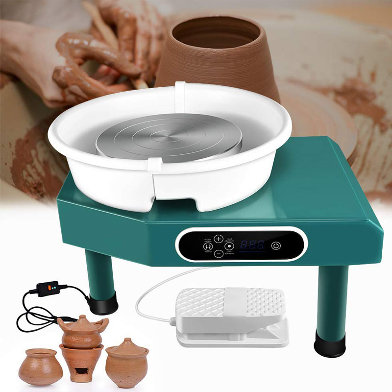 350W LCD Electric Pottery Wheels Forming Machine With Removable Basin Ceramics Work Clay Craft Art School Teach Pottery
