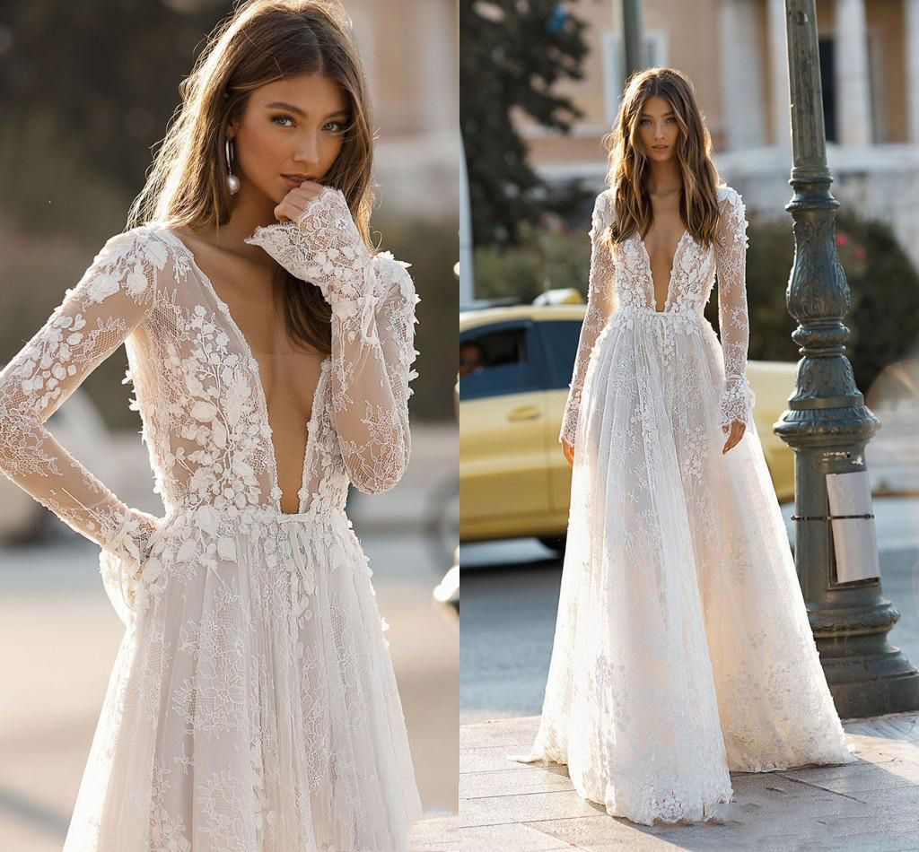 2020 Elegant Berta Wedding Dresses Sexy Deep V Neck Backless 3D Flora Lace Appliques Beach Bridal Gown Custom Robe De Mariee