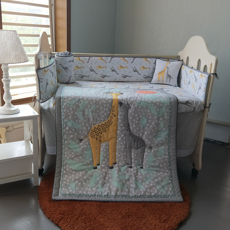 8pcs Baby Nursery Crib Bedding Set Giraffe Animals Boys And Girls-pillow, Crib Sheet, Skirt, Comforter, 4 Sections Bumpers