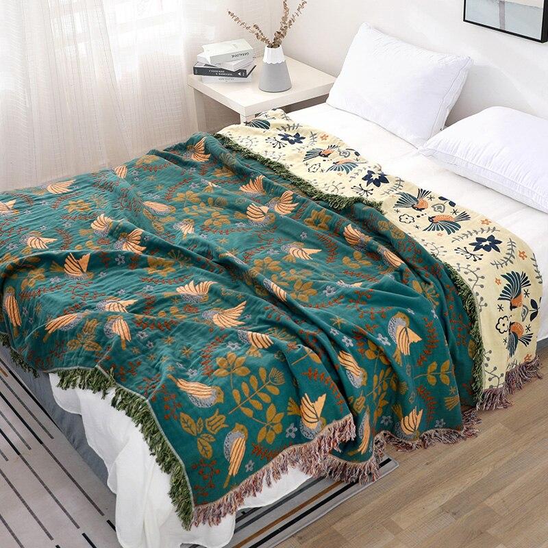 % 100% pamuklu yüksek kaliteli şekerleme battaniye ev yatak takımı Muslin yaz havlu örtüsü seyahat nefes şık büyük atmak battaniye